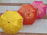 Worldoftextile 10 Pcs Mix Lot Indian Wedding Umbrella Handmade Umbrella Decorations Vintage Parasols Cotton...