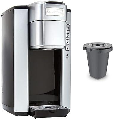 Cuisinart SS-5P1 Single Serve Brewer Coffemaker, 40 oz, Silver & HomeBarista Reusable Filter Cup, Gray