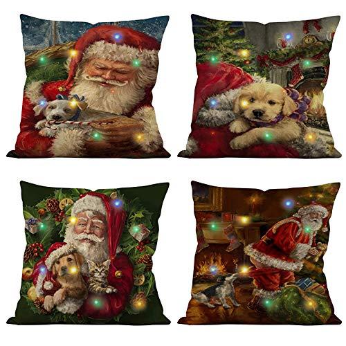 NOKIO 2020 Christmas Lighting LED Cushion Cover Home Decor Throw Pillowcase Sofa Flashing Set-Christmas Throw Pillows Set of 1 Christmas Decor for Couch Sofa-Decorations (C)