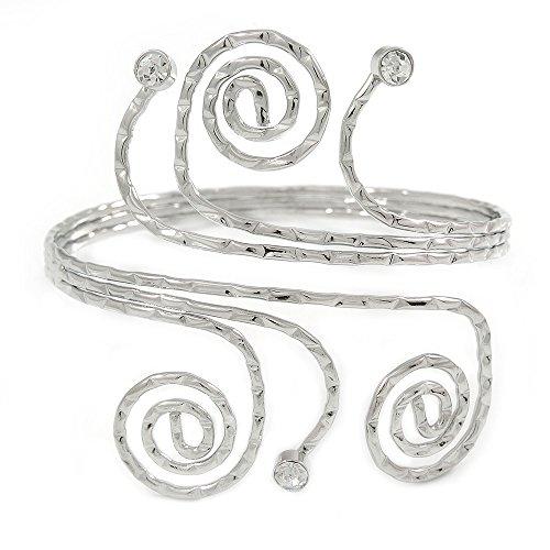 Silberfarbener gehämmerter Oberarmreif/ Armreif mit Kreise, Wirbeln und Kristall