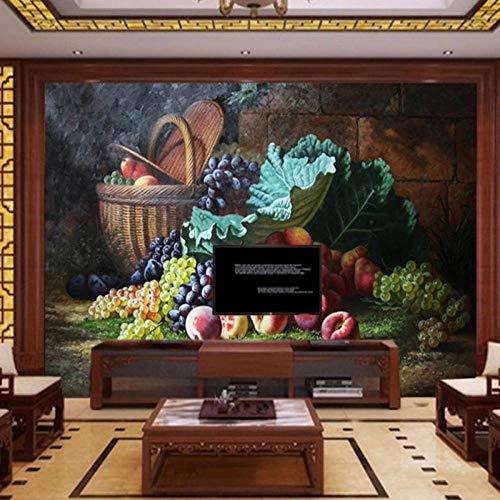 Fotobehang Klassiek Mooi Fruit Stilleven Schilderij Muur, Woonkamer Keuken Slaapkamer TV Achtergrond Behang 280 cm (B) x 180 cm (H)