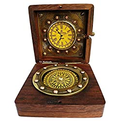 Marine Art Replicas Authentic Clock Compass in Rose Wood Box, Vintage Gift…