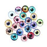 YiFeiCT 20 piezas de cristal de ojos de muñecas para manualidades, ojos de animales, accesorios de joyería de 10/16/20 mm