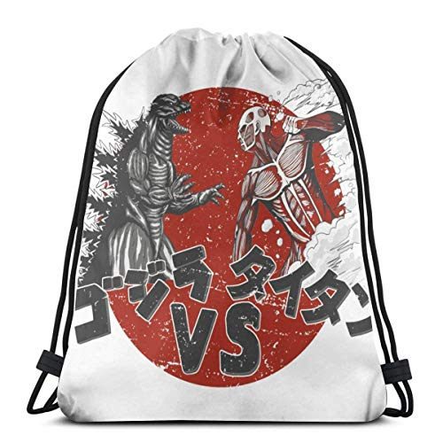 WH-CLA Drawstring Backpack Titan Vs Monsters God-Zilla Drawstring Bag Mujeres Outdoor Sport Favor Bags Impreso Sack Cinch Bags Hombres Gym Unique Anime Durable Drawstring Backpack Travel