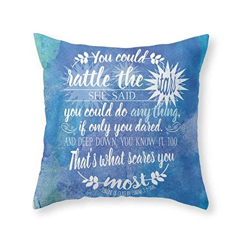 Funy Decor Throne of Glass by Sarah J. Maas Book Quote - Rattle The Stars Decorative Square Throw Pillow Covers Cushion Cases Pillowcases for Sofa Bedroom Car18 x 18 inch 45 x 45 cm …