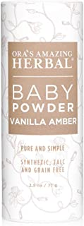 Natural Baby Powder, Talc Free, Baby Skin Care, Gentle Vanilla Amber, Corn Free Baby Powder, Grain Free, Gluten Free, Synthetic Fragrance Free, Ora's Amazing Herbal, Made in USA Baby Products
