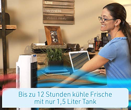 LIVINGTON ChillTower – Klimagerät mit Wasserkühlung – mobiles Klimagerät mit 3 Kühlstufen – Verdunstungs-Kühler ohne Abluftschlauch für 12h Kühlung Dank 1,5 L Tank - 5