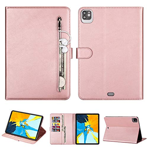 ZTOFERA Leather Case for iPad Pro 11 inch 2020/2018 (2nd/1st Generation) Case, Sim Protective Case with [Pockets][Card Slots][Stand], Auto Wake/Sleep Leather Flip Smart Cover - Rose Gold