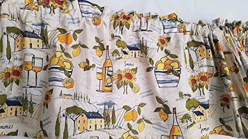 Lemon and Sunflower Kitchen Curtain, Sunny Curtain, Tuscan Kitchen Curtain, Yellow Kitchen Curtain, Country Style Kitchen Curtain(41-42 Inches Wide x 15 Inches Long)