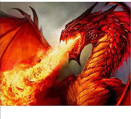 XTTGGD DIY Diamond Embroidery Diamond Painting Cross Stitch Red Fire Breathing Dinour Animal Series Picture 40 x 50 cm
