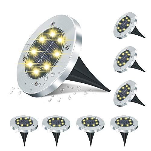IVSO Solar Bodenleuchten, 8 LEDs Solarleuchten Solarlampen Gartenleuchten für Auße, Garten Landschaft Warmweiß Solarlicht, IP65 Wasserdicht für Rasen, Patio, Hof, 8er Pack [Energieklasse A+]