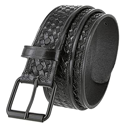 "Men's Utility Uniform Work Belt Black Roller Buckle Casual One Piece Full Grain Leather Basketweave Belt 1-1/2"" Wide (Black, 40)"