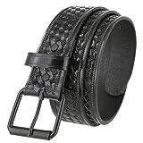 Men's Utility Uniform Work Belt Black Roller Buckle Casual One Piece Full Grain Leather Basketweave Belt 1-1/2' Wide (Black, 42)