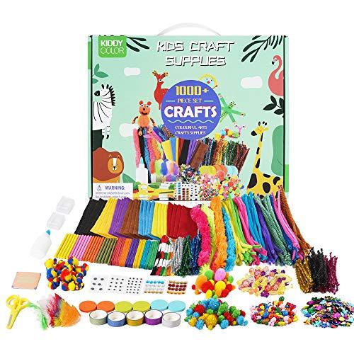 KIDDYCOLOR Kunst- und Bastelbedarf für Kinder, über 1000 Stück Bastelbedarf mit Pfeifenreinigern, farbiges Bastelmaterial Alles in einem DIY Bastelkunstset für Kleinkinder Alter 5 6 7 8 9 10