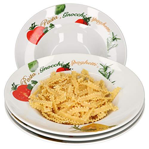 Van Well 4er Pastateller-Set Milano mit Aufdruck I Ø 27 cm I tiefer Porzellan-Teller I Gastro-Geschirr I Nudeln, Pasta I Gnocchi, Spaghetti, Fusilli, Makkaroni, Penne, Ravioli