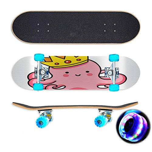 UYDBKSJABM Cute Pink Octopus in a Golden Crown King of The sea Stock Skateboard Colorful Flashing...