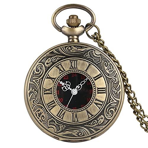 NZDY Reloj de Bolsillo Clásico Números Romanos Negros Reloj de Bolsillo de Cuarzo Reloj de Bolsillo para Hombres Caja Hueca Negra de Los Hombres Vapor Retro Colgante Collar Los Mejores Regalos para H