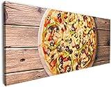 Wallario XXXL Riesen- Leinwandbild Italienische Pizza mit Peperoni, Oliven. Paprika und Käse - 80 x 200 cm Brillante lichtechte Farben, hochauflösend, verzugsfrei
