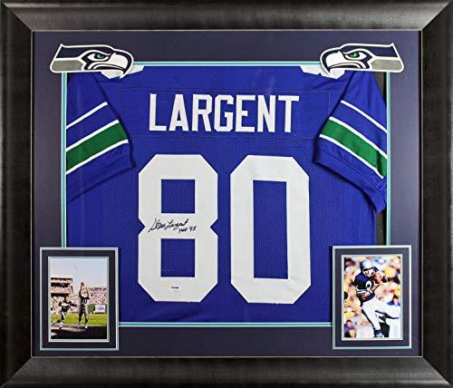 Seahawks Steve Largent'HOF 95' Authentic Signed Blue Framed Jersey BAS Witness