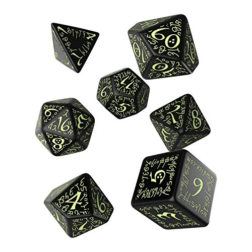 Q-workshop QWOELV19 - Set di Dadi Fluorescenti per Elvish Dice, Gioco da Tavolo, 7 pz., Colore: Nero