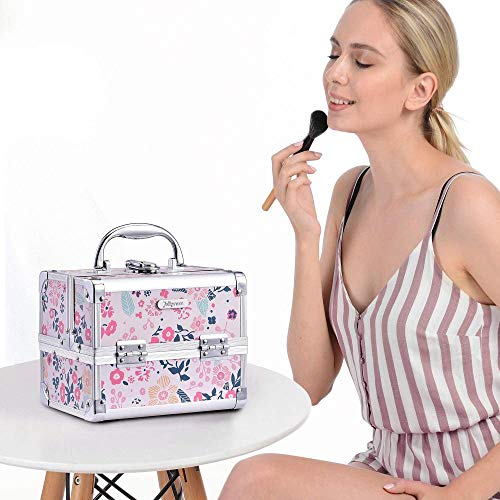 BWM Makeup Box with Mirror Cosmetic Case Organiser Light Weight Lockable with Keys