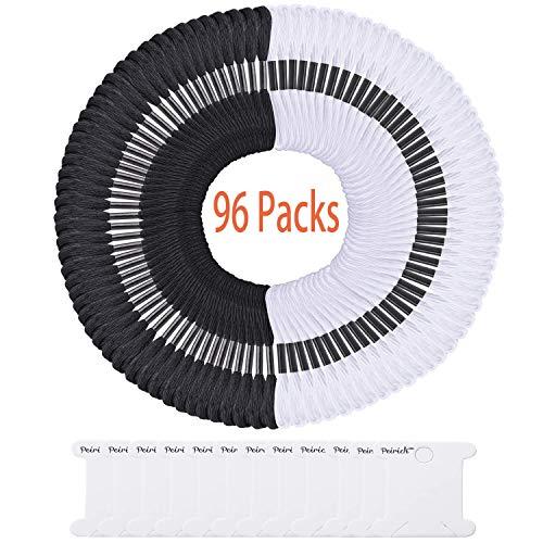 Peirich 96 Schwarz-Weiß-Stränge Kreuzstichfäden Freundschaftsbänder Zahnseide Stickgarn mit 12 Stück Zahnseide Spulen