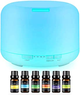Difusor de Aceite Esencial,Vapor Silencioso Ajustable, Humidificador Ultrasónico 500ml de 7 Colores con 6 Botellas de Acei...