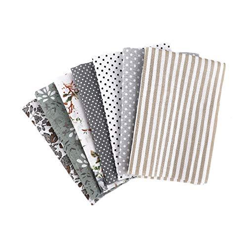 Martin Kench Stoffpaket Baumwollstoff Meterware, 7 Stück je 50 cm x 50 cm Stoffbündel für Patchwork, Stoffe zum Nähen Stoffe Paket Stoffreste DIY (Grau)