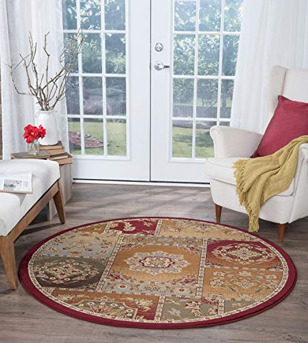 Tayse Chelsea Multi-Color 8 Foot Round Area Rug for Living, Bedroom, or Dining Room - Transitional, Oriental