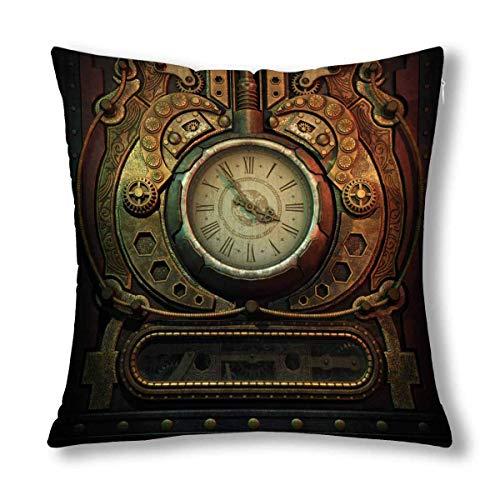 GOSMAO Cool 3D Vintage Old Clock en Estilo Steampunk Cojín Decorativo Funda de Almohada Funda de 18 x 18 Pulgadas, Protector de Funda de Almohada de decoración