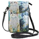 Lawenp Bolso bandolera de cuero pequeño con gato abstracto, billetera con bloqueo RFID, monedero, bolsos de teléfono para viajes, niñas, mujeres