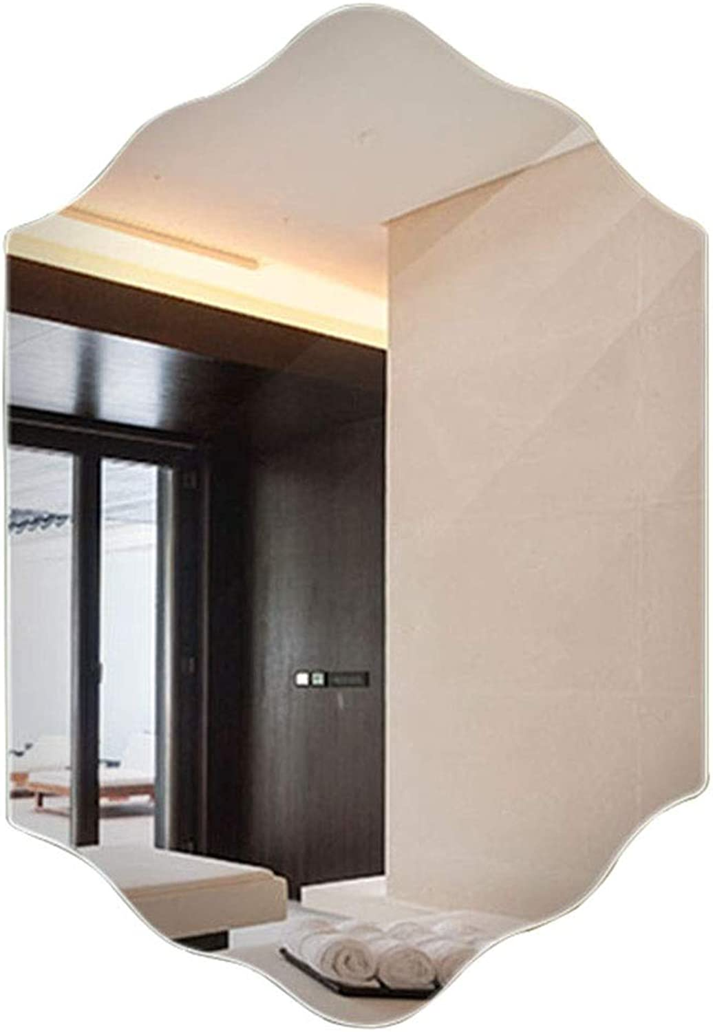 Mirrors Frameless Bathroom Mirror Hanging Wall Bathroom Mirror Salon Creative Mirror Personality Wall Mirror Living Room Decorative Mirror Bedroom Fitting Mirror Wall-Mounted Vanity Mirrors