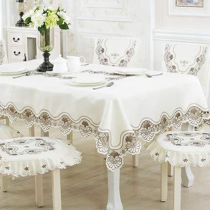 CRTTRC Europa Luxus bestickte Tischdecke Tisch Esstisch Abdeckung Tischtuch Hochzeit 213 Rote Blume Stuhlabdeckung Heimtextilien (Color : Light Grey, Specification : 1pcs Chair Cover Set)