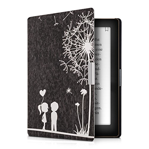 kwmobile Klapphülle kompatibel mit Kobo Aura Edition 1 - Hülle eReader - Pusteblume Love Weiß Schwarz