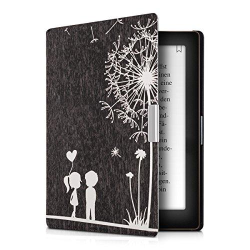 kwmobile Hülle kompatibel mit Kobo Aura Edition 1 - Kunstleder eReader Schutzhülle Cover Case - Pusteblume Love Weiß Schwarz
