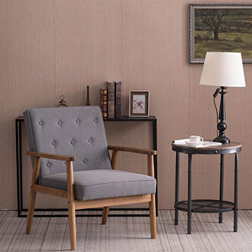 Bonnlo Mid Century Accent Chair, Fabric Upholstered Wooden Armchair, Lounge Chair for Living Room, Grey Armchair Reading Chair Comfy Chairs for Bedroom, Reception Chair Modern Chair Minimalist Style