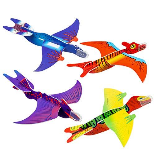 THE TWIDDLERS 48 Dinosaurier Gleitflugzeuge, Dino Styroporflieger Spielzeugset| Einfach zu Montieren & Robuste| Kindergeburtstag Party Mitgebsel Mitbringsel Pinata Giveaways Weihnachten Geschenk.