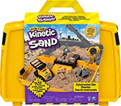 WORKING CRANE: With help from the Construction Site's crane and 2 attachments, you can dig, build and crush! Hook the sand bucket on to dig and move Kinetic Sand, then demolish with the wrecking ball! DUMP TRUCK WITH BRICK MOLDS: The Construction Sit...