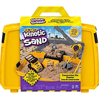Kinetic Sand, Construction Site Folding Sandbox Playset with Vehicle and 2lbs, for Kids Aged 3 and up