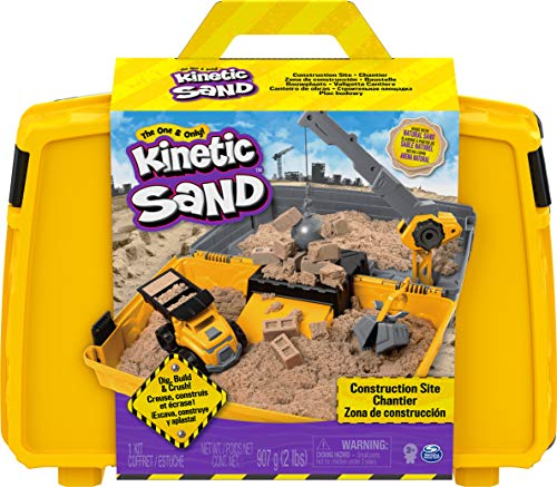 Kinetic Sand 6055877 - Baustellen Koffer mit 907 g Kinetic Sand