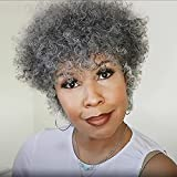 Afro Kinkys Curly Hair Wig Short Grey Wig Old Lady Afro Curly Human Hair Wig 150% Density