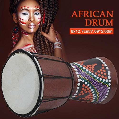Cuttey 4 Zoll Afrikanische Trommel Handbemalte Bongo Djembe Mahagoni Durable Tamburin Percussion Instruments Für Kinder Erwachsene Starter Anfänger 18x12.7cm fine Outstanding