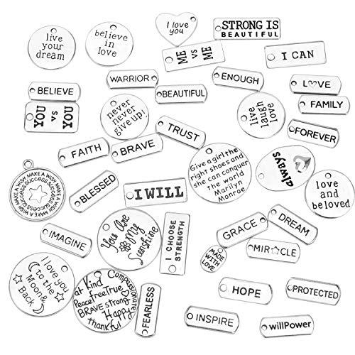 HIFOT ciondoli per gioielli fai da te 40 Pezzi, inglese charm per Bracciale Collana Orecchini Gioiell anelli portachiavi hobby creativi adulti