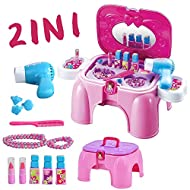 deAO 2-in-1 Vanity Dressing Table Play Set and Stool with Mirror, Hairdryer, Pretend Makeup Jeweller...