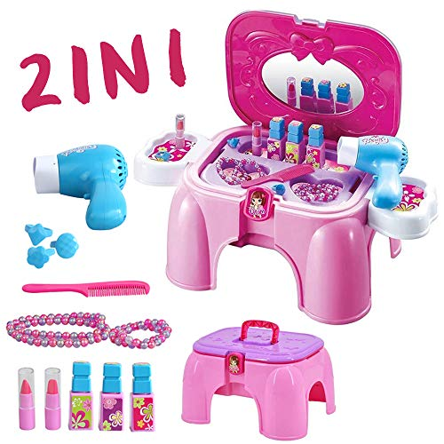 deAO Kit di Bellezza Playset - Sgabello & Scatola Portatile 2in1 con Accessori Inclusi e Asciugacapelli a Pile
