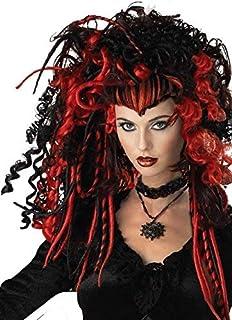 Ladies Black//Red Bloodlust Vampire Wig Halloween Fancy Dress Accessory