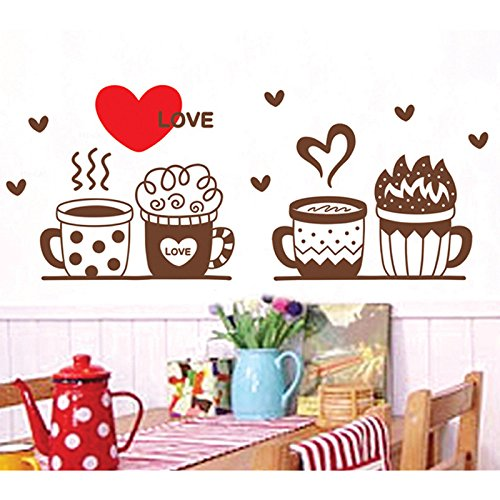 Flowerpots Cute Coffee Cup Love Heart Shape Vinyl Wall Decal PVC Home Sticker House Paper Decoration Wallpaper Living Room Bedroom Kitchen Art Picture DIY Murals Kids Nursery Baby Decor