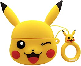 AKXOMY Compatible AirPods Pro Case Cover,3D Cute Cartoon Soft Silicone Protective Cover for Airpod Pro Case (2019) (Pikachu-Yellow)