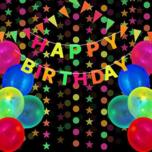 Glow Neon Birthday Party Decorations Supplies, Includes Happy Birthday Banner, Neon Fluorescent Balloon, Black Light Reactive UV Star Circle Dots Paper Garland Triangular Flag