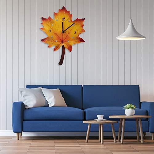 Reloj de pared, moderno diseño de hoja de arce 3D, silencioso, decoración de interiores, silencioso, funciona con pilas, para salón o familiares
